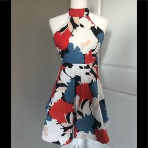 Halter low back red white and blue dress.